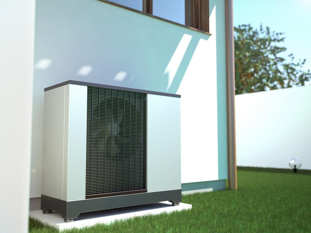 Air,Heat,Pump,Beside,House,,3d,Illustration